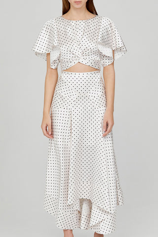 Acler Ladies Full Length Ivory Skirt with Asymmetrical Hemline and Black Polka Dots