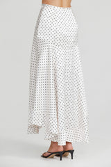 Acler Ladies Full Length Ivory Skirt with Asymmetrical Hemline and Black Polka Dots - Back Detail