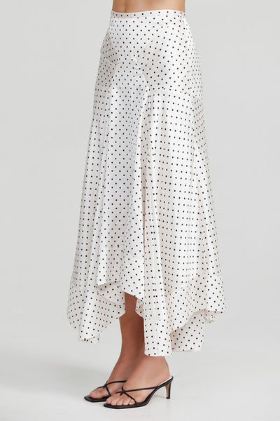 Acler Ladies Full Length Ivory Skirt with Asymmetrical Hemline and Black Polka Dots - Side Detail