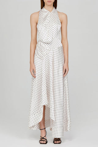 Acler Ladies Ivory Full-length Dress with Asymmetrical Hemline and Black Polka Dots