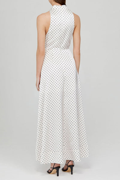 Acler Ladies Ivory Full-length Dress with Asymmetrical Hemline and Black Polka Dots - Back Detail