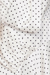 Acler Ladies Ivory Full-length Dress with Asymmetrical Hemline and Black Polka Dots - Pattern Detail