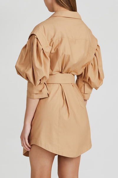 Acler Biscuit Brown Mini Dress with Gold Bamboo Hardware Belt Detail, Utility Pockets, Drop Shoulder, Curved Hemline, Collar and Puff 3/4 Sleeves - Back View