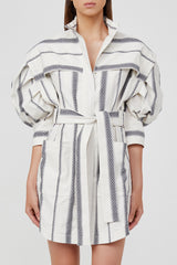 Acler Blue and White Striped Mini Shirt Dress with Exaggerated Sleeves, Elongated Cuffs and Waist Tie