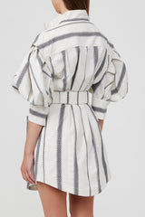 Acler Blue and White Striped Mini Shirt Dress with Exaggerated Sleeves, Elongated Cuffs and Waist Tie - Cinched Back Detail