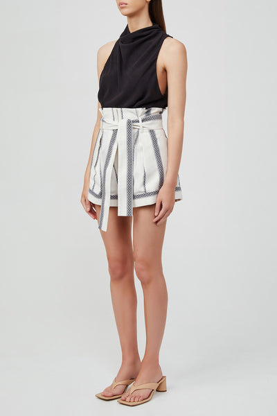 Acler Blue and White Striped, Relaxed Fit, High Waisted Ladies Shorts with Waist Tie