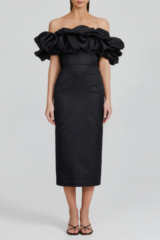 Acler Black, Off-the-Shoulder Midi Dress with Exaggerated Ruffle Shoulder Detail, Fitted Silhouette and Boned Bodice