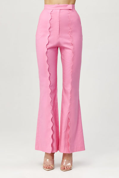 Acler Ladies Pink Aslo Flared Pants with Scalloped Front Pleat