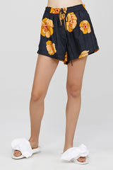 Black Acler Ladies Silk Short with Poppy Pattern