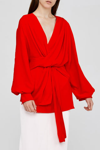 Red Acler Jenkins Blouse with Twist Detail