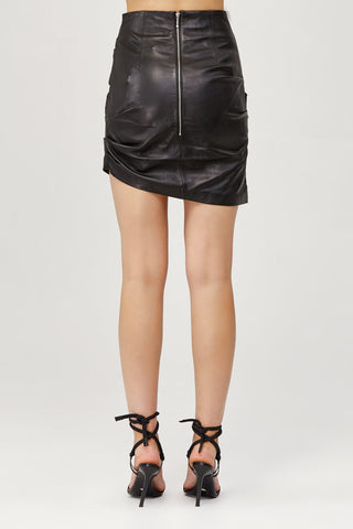 Acler Ladies Black Leather High Waisted Mini Skirt Back Detail