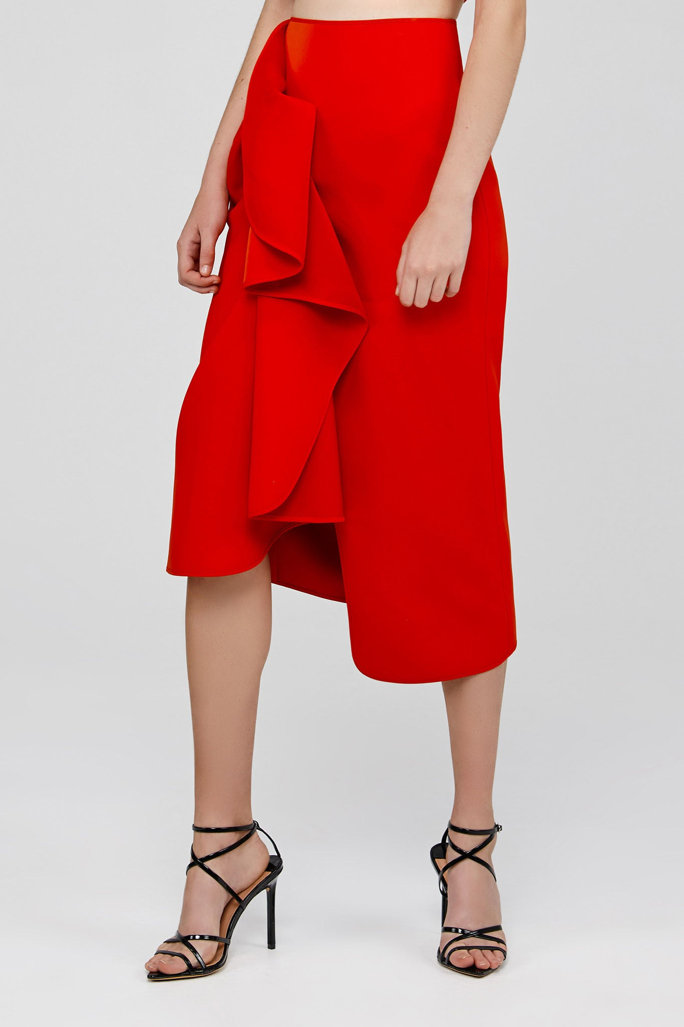 Red Acler Crawford Skirt with Draped Wrap