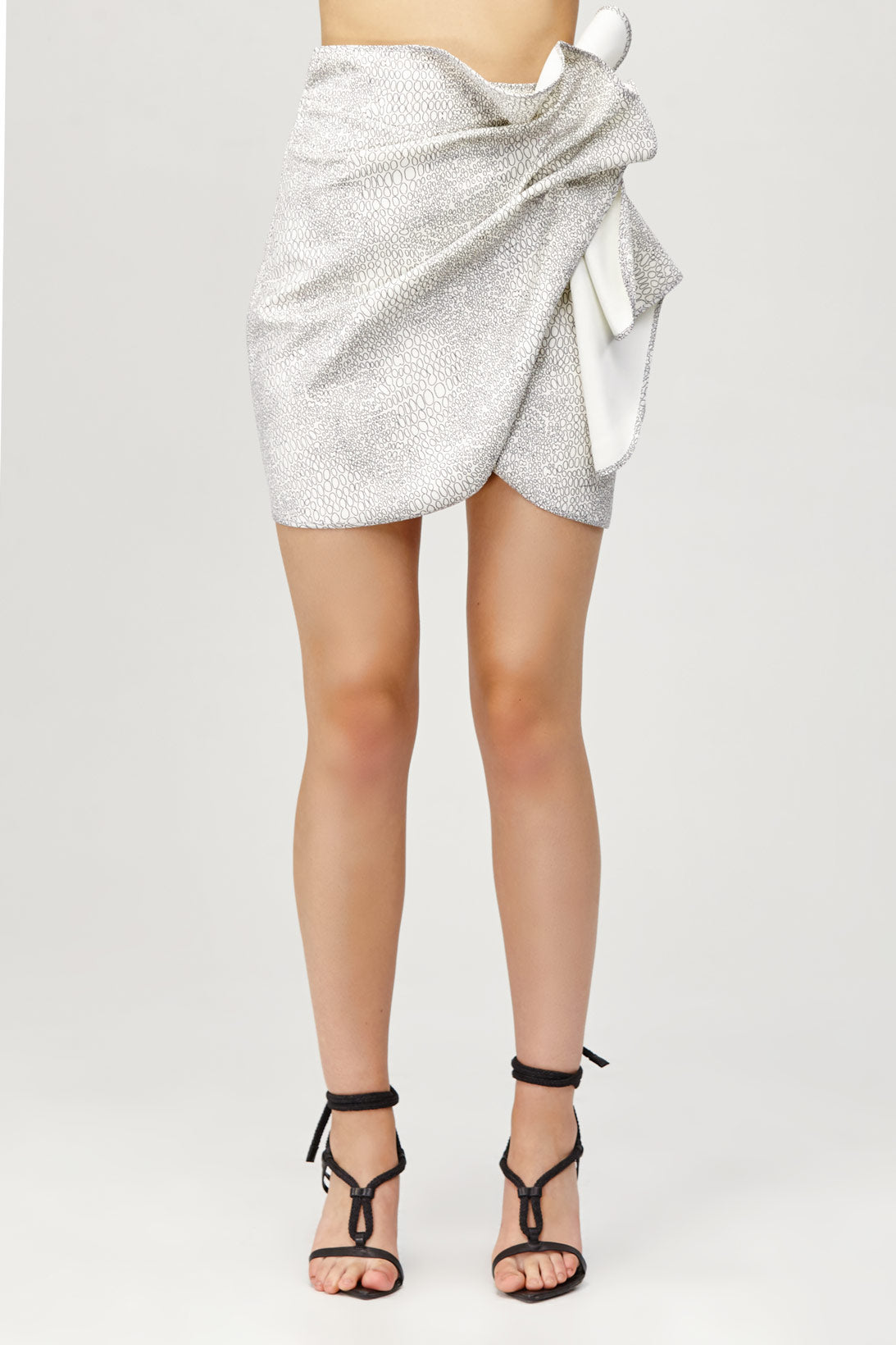 Acler Ladies Metallic Silver Bronte Mini Skirt with Draped Wrap