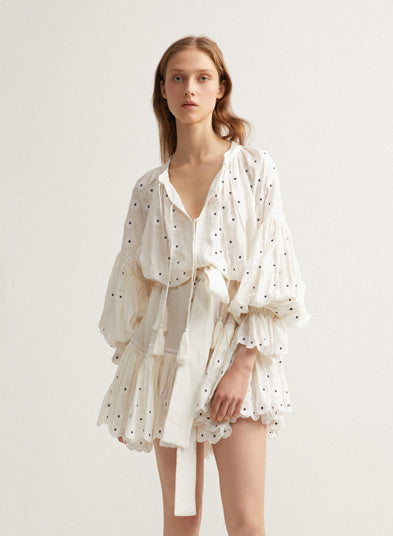 White Ladies Oversized Acler Dress with Tassels