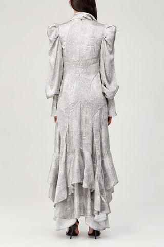 Acler Ladies Metallic Silver Roscoe Dress with High Neck, Frill Skirt and Long Sleeves Back Detail