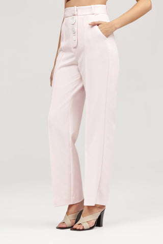 Pastel Pink Acler Lynne Tailored Pant with Button Detail