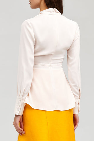 Acler Pastel Pink Long Sleeved Wrap Spanning Top with Tie Detail - Back Detail