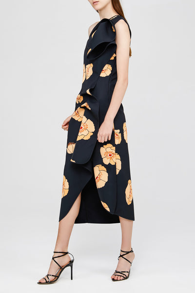 One Shoulder Ladies Black Acler Dress with Orange Poppies