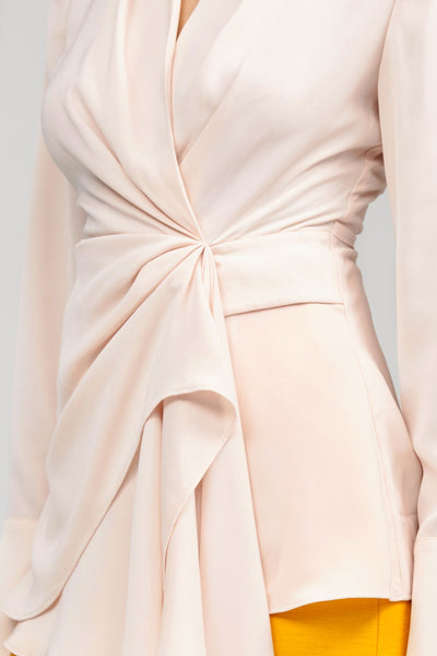 Acler Pastel Pink Long Sleeved Wrap Spanning Top - Tie Detail