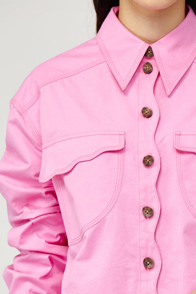 Acler Ladies Pink Denim Collared Shirt with Contrast Stitching