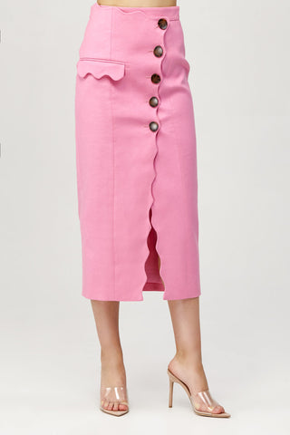 Acler Ladies Pink High Waisted Aslo Skirt with Scalloped Edge