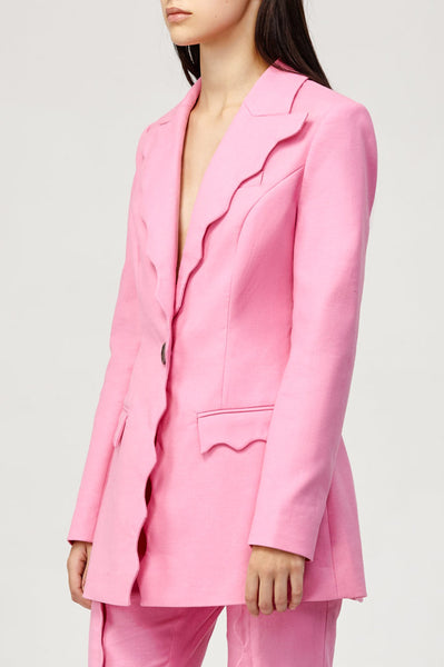 Acler Ladies Pink Aslo Blazer with Scalloped Edges
