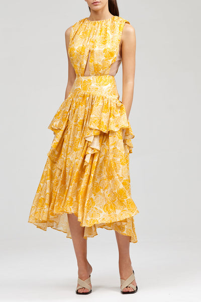 Acler Yellow Grosvenor Dress with Ruffled Hem and Cut Out Detail