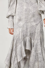 Acler Ladies Metallic Silver Roscoe Dress with High Neck, Frill Skirt and Long Sleeves