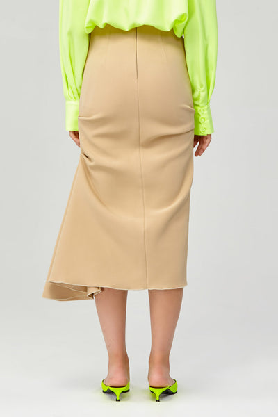 Acler Ladies High Waisted Riverside Skirt with Ruffle Side Back Detail