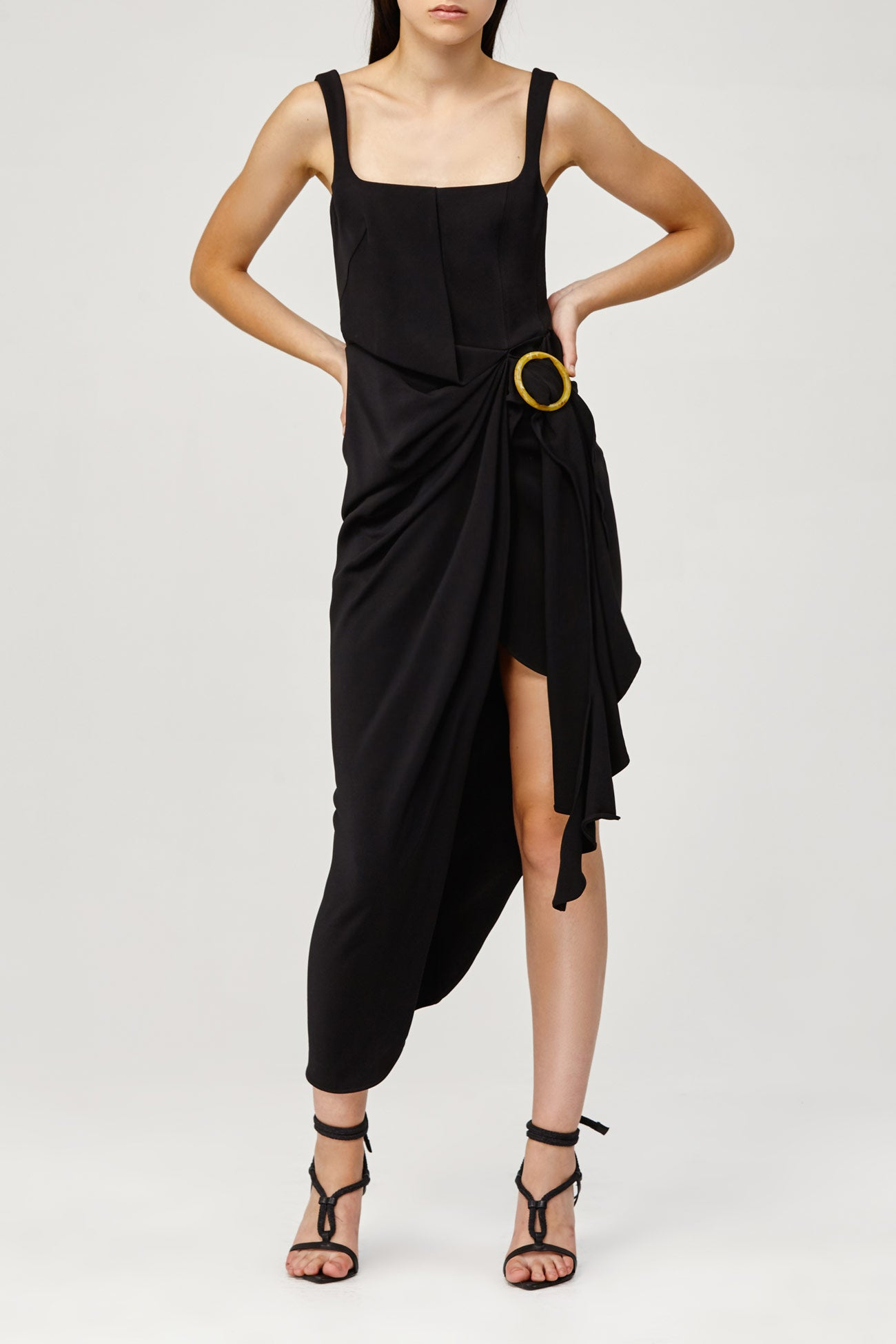 Acler Ladies Black Maine Dress with Fitted Bodice and Wrap Around, Asymmetric Skirt