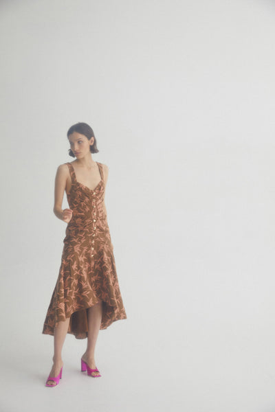 Acler Chocolate Brown Midi dress with Palm Tree Pattern, Asymmetric Hemline and Ruching Detail