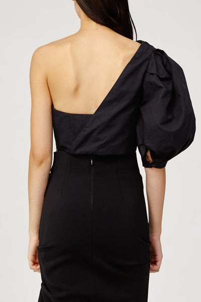Acler Ladies Black One (Cold) Shoulder Top with Draped Sash Back Detail