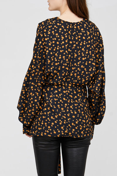 Back Detail on Black Acler Jenkins Blouse with Poppy Design
