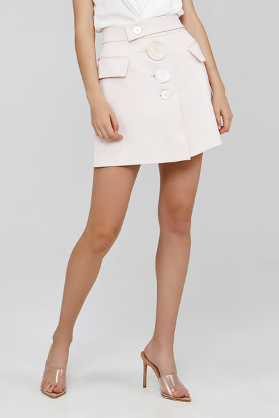 Pale Pink Acler Mini Skirt with Button Detail