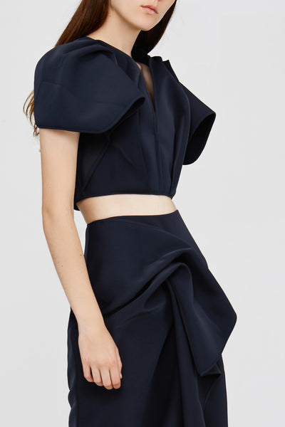Black Acler Crawford Top with Sleeve Ruffles