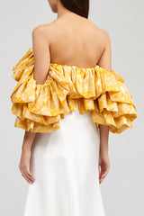 Yellow Ruffled Acler Boundary Bustier with sweetheart neckline back detail