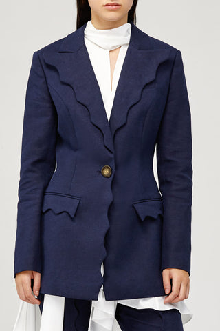 Acler Ladies Navy Aslo Blazer with Scalloped Edges