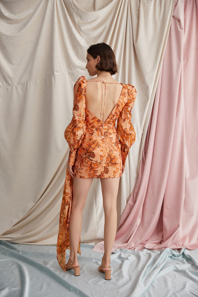 Acler Orange Flower Mini Dress with Long, Exaggerated Sleeves, cut-out Shoulder and Low Back Detail.