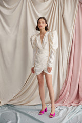 Acler Eggshell Mini Dress with Plunging v-neckline, Ruching Detail and Long Sleeves with Exaggerated Shoulders