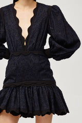 Acler Ladies Navy Lace Mini Dress with Scalloped Edges and Ruffles