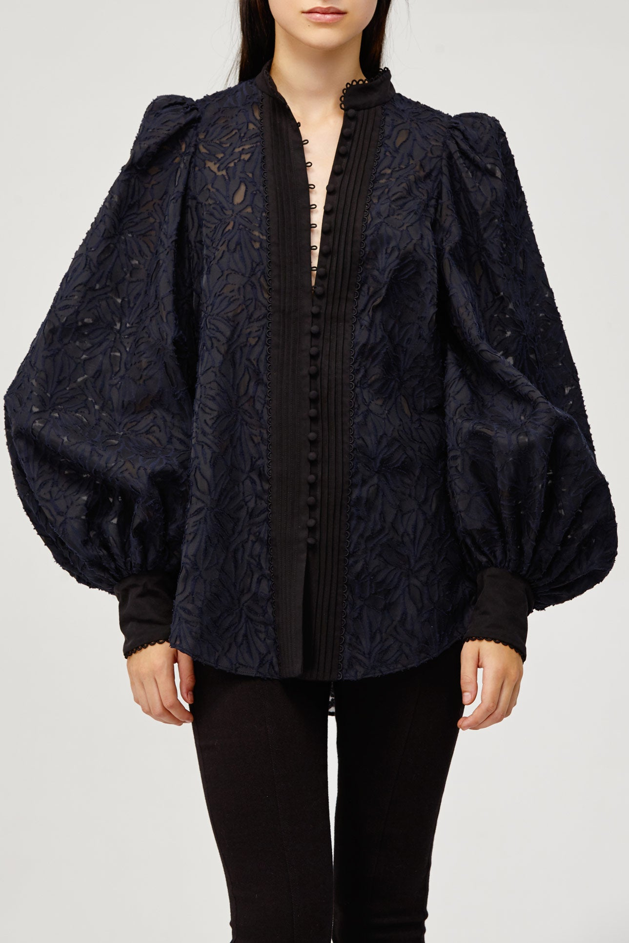 Acler Ladies Navy Lace Long Sleeved Blouse Top with Scalloped Edges and Ruffles