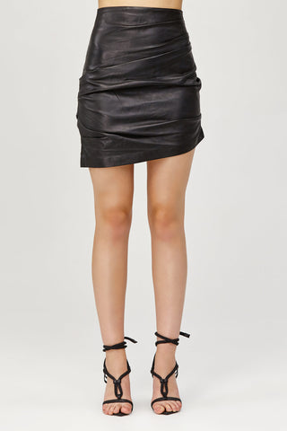 Acler Ladies Black Leather High Waisted Mini Skirt