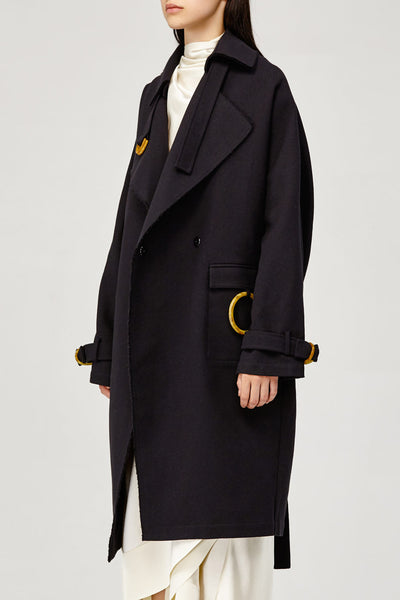 Acler Ladies Black Collared Arbour Trench Coat