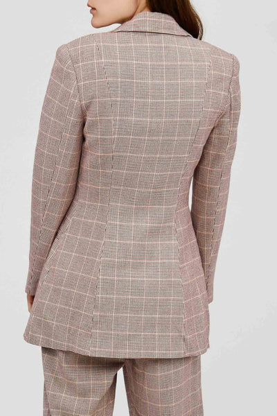 Acler Fitted Ladies Wool Blend Blazer in Clay Check Back Detail