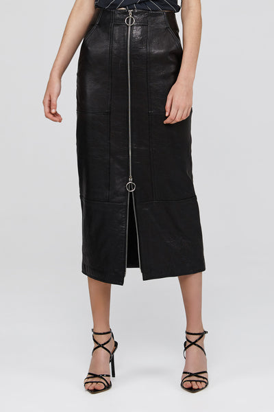 Black Acler A-Line Leather High Waisted Middleton Skirt