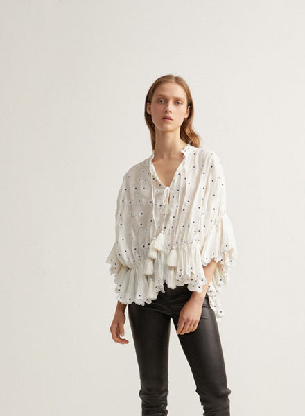 White Oversized Acler Ladies Linen Blouse
