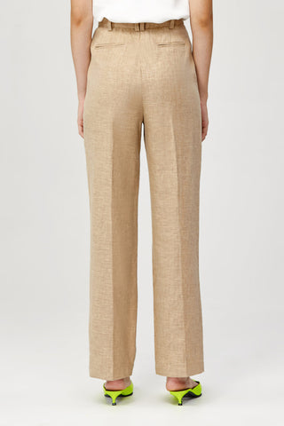 Acler Ladies High Waisted Straight Leg Belvue Pant in Bone Back Detail