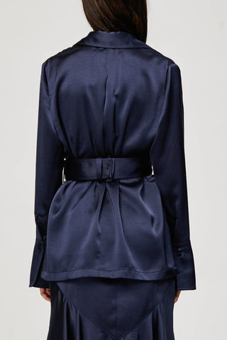 Acler Ladies Midnight Blue Soto Top, V-neck Collared Shirt Back Detail