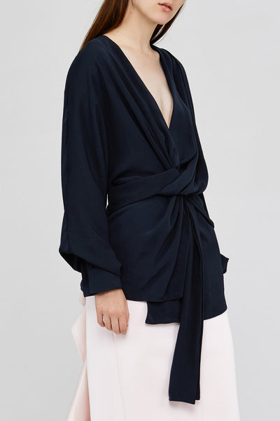 Black Acler Jenkins Blouse with Twist Detail