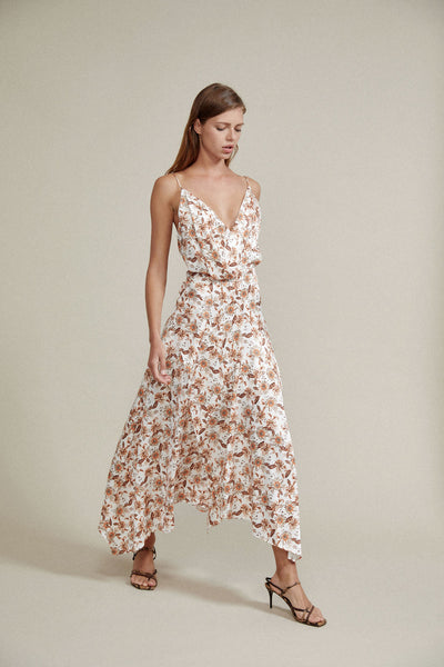 Acler Ivory Midi Dress with v-neckline, Asymmetrical Hemline and Orange Floral Pattern
